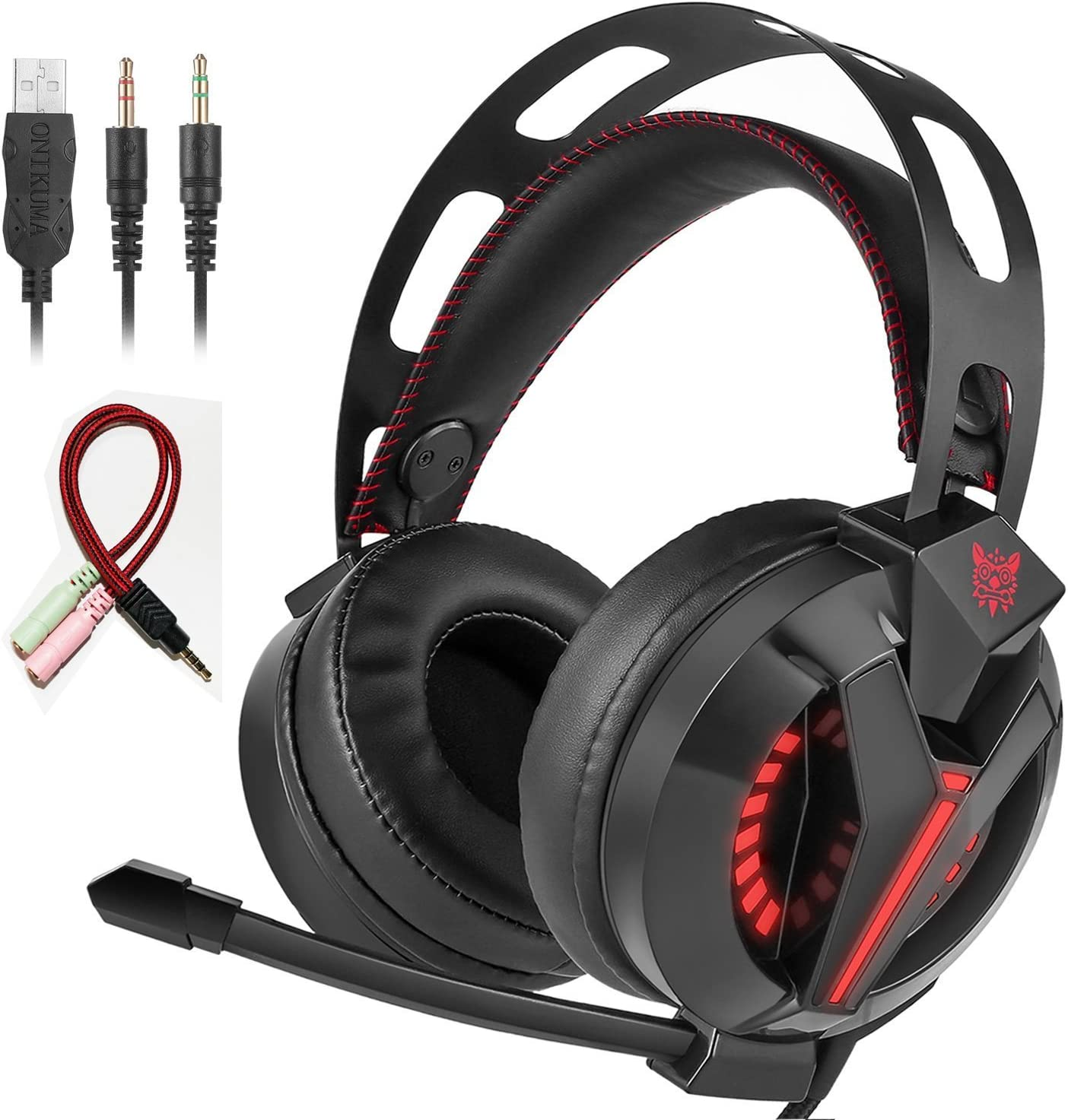 VIKMOSH Gaming Headset for Xbox One,PS4, Noise Cancellation Surround Sound Over Ear Headphones with Mic Mute and Led Light,Wired 3.5MM Jack Gaming Headphones for PC,Laptops,Mac,Ipad,iPhone 5,6 Black