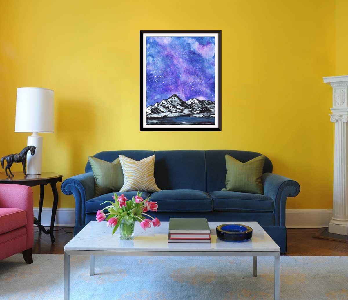 Amazon.com: Purple Galaxy Ice Mountain Mixed Media Painting Poster ...
