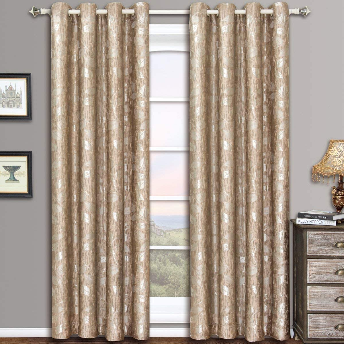 Royal Hotel Charlotte Mocha Grommet Jacquard Window Curtain Panels, Pair Set of 2 Panels, 52×108 inches Each