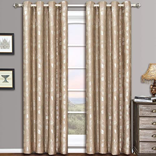 Charlotte Mocha Grommet Jacquard Window Curtain Panel