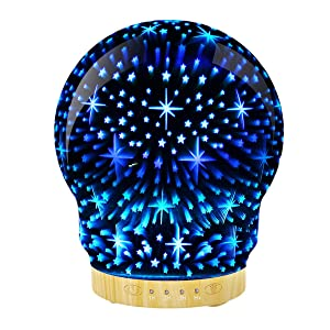 Essential Oil Diffuser 3D Glass Stars Aromatherapy Ultrasonic Humidifier with 7 Color Changing LED Lights Mist 120ml Automatic Shut Off Timer Setting Gift for Home Office Sleep Yoga SPARound