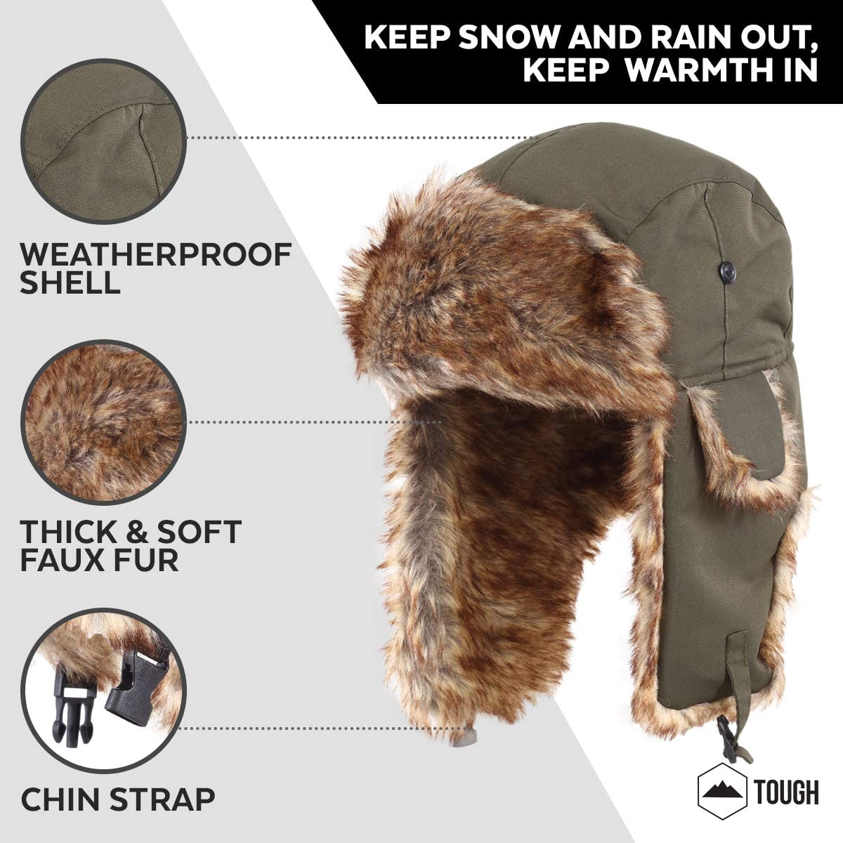 Trapper Hat - Winter Trooper Aviator Earflap Eskimo Hat - Fits Men & Women Army Green : Clothing