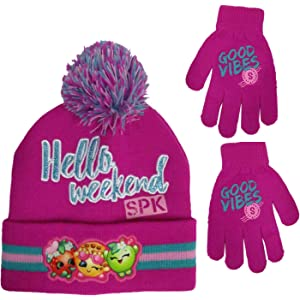 4acb6e92135 Amazon.com  Moose Big Girls Shopkins Acrylic Knit Winter Beanie Hat ...