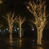 مصابيح شجرة الكريسماس الصفراء الزاهية لتزيين غرفة الحفلات 50 مترًا ديكور للباب الخارجي ليد سلسلة أضواء الجنية 400 مصباح…