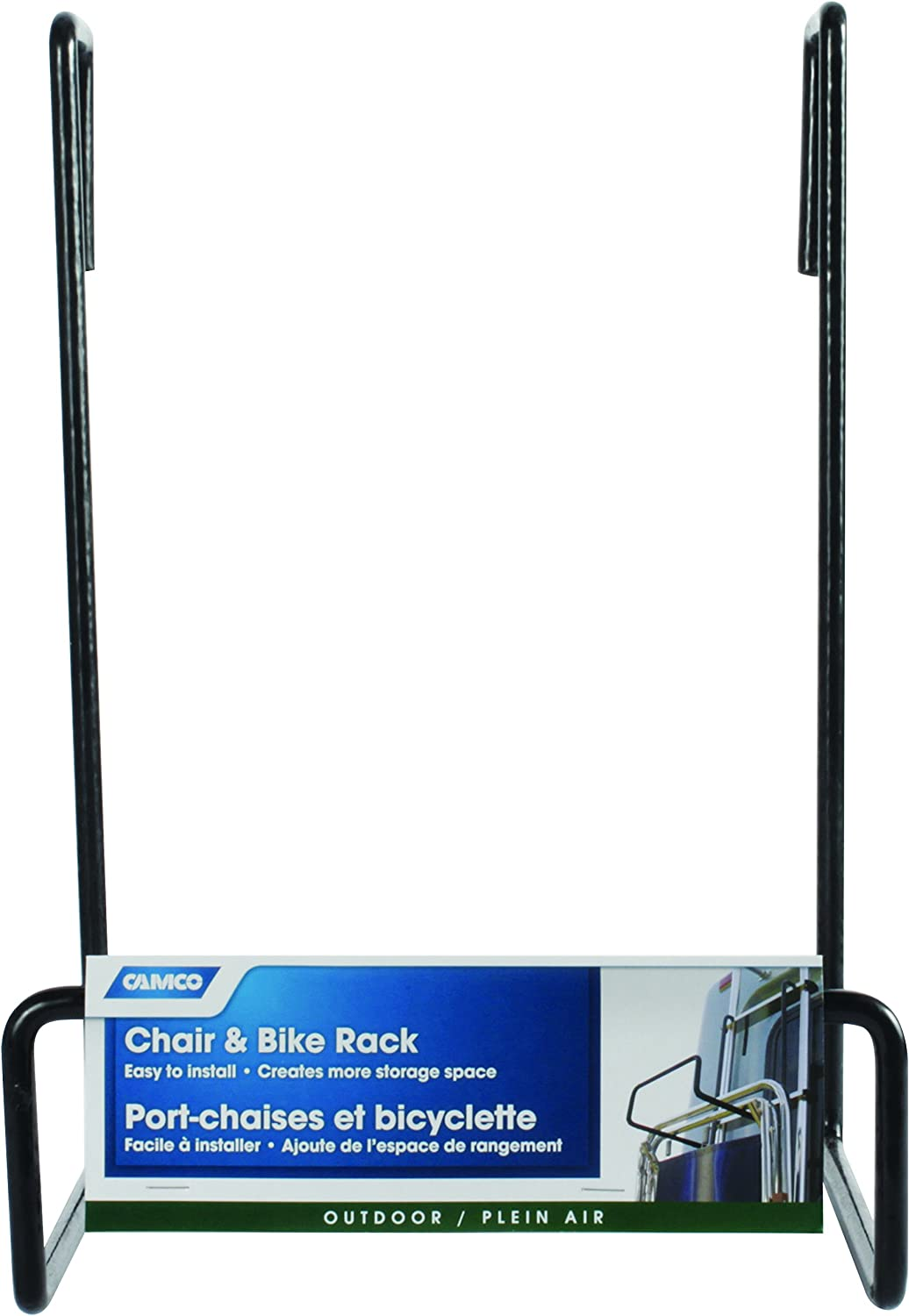 21029 Picnic Camco Heavy Duty Rack-Hook on RV Ladder to Support Folding Beach Chairs During Travel-Black
