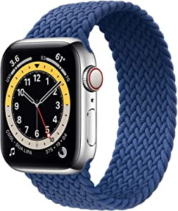WAAILU Solo Loop Braided Band Woven Compatible for Apple Watch SE Series 6 40mm 44mm Compatible for Iwatch 5/4/3/2/1 38mm 42mm-(Blue-38/40-6 )
