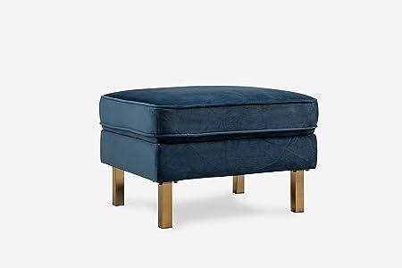 ALBANY PARK ALBANYOT Midcentury Modern Velvet Ottoman, Blue