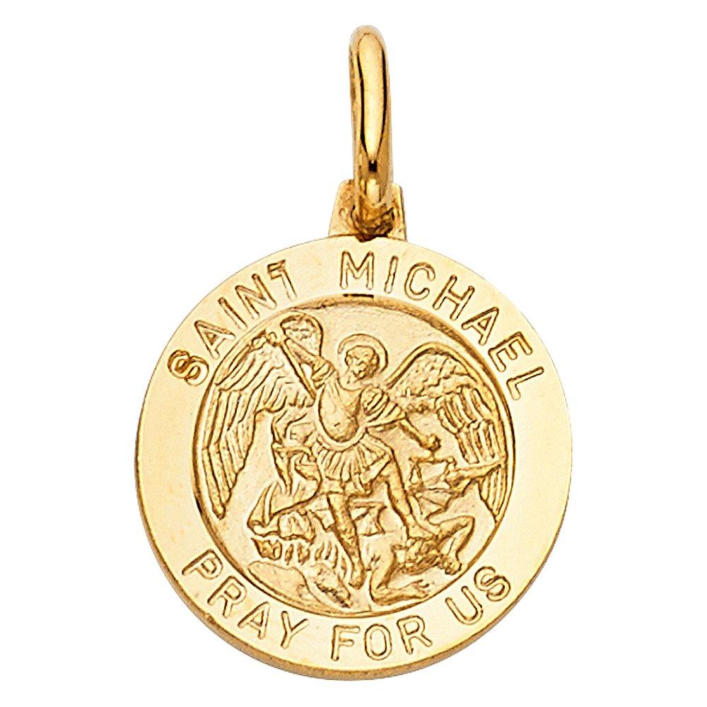 18mm x 15mm 14k Yellow Gold Religious Saint Michael Charm Pendant