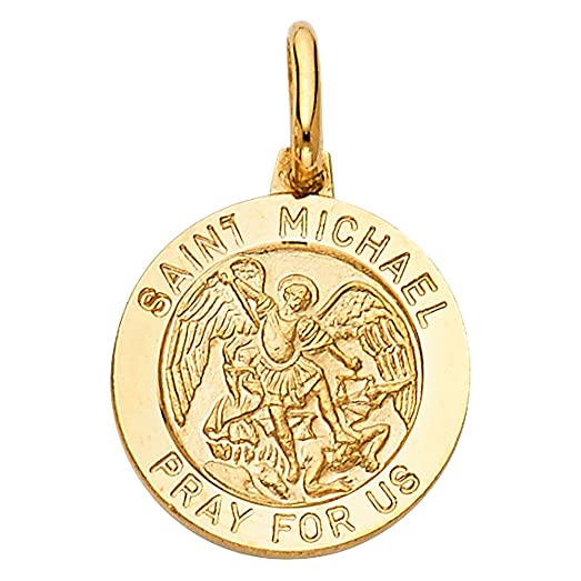 Amazon 14k yellow gold religious saint michael medal charm 14k yellow gold religious saint michael medal charm pendant aloadofball Image collections