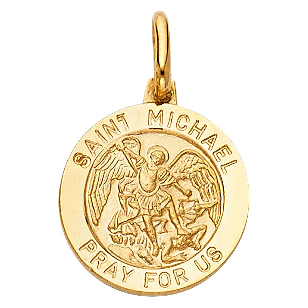 14k Yellow Gold Religious Saint Michael Medal Charm Pendant