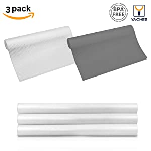 "Yachee 3 Rolls EVA cabinet liner, Anti-mildew Anti-bacterial Non-slip Shelf Liners for kitchen Cabinets, Waterproof Cupboard Drawer Cushion Mats,DIY Multipurpose Antifouling Pads,17.7""x59""-Transparent"