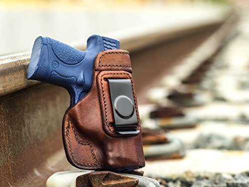 OUTBAGS USA LS2SHIELD (BROWN-RIGHT) Full Grain Heavy Leather IWB Conceal Carry Gun Holster for Smith & Wesson M&P SHIELD 9mm / 40 S&W. Handcrafted in USA.