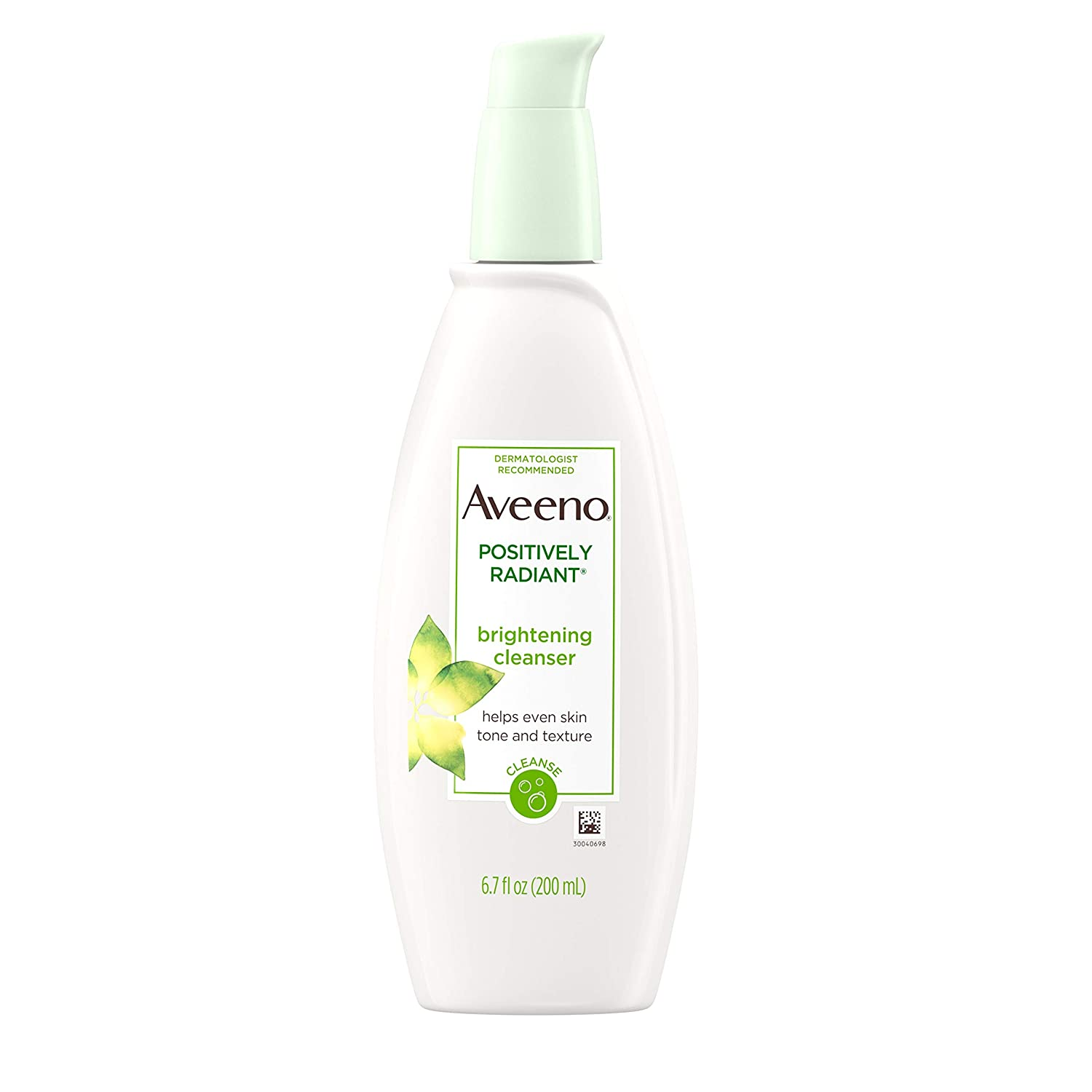 Aveeno Positively Radiant Brightening Facial Cleanser for Sensitive Skin, Non-Comedogenic, Oil-Free, Soap-Free & Hypoallergenic, 6.7 fl. oz