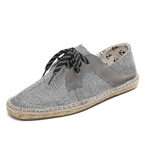 Alpargatas para Hombre Zapatos con Cordones Lona Gris Lino Casuales Espadrilles: Amazon.es: Zapatos y complementos