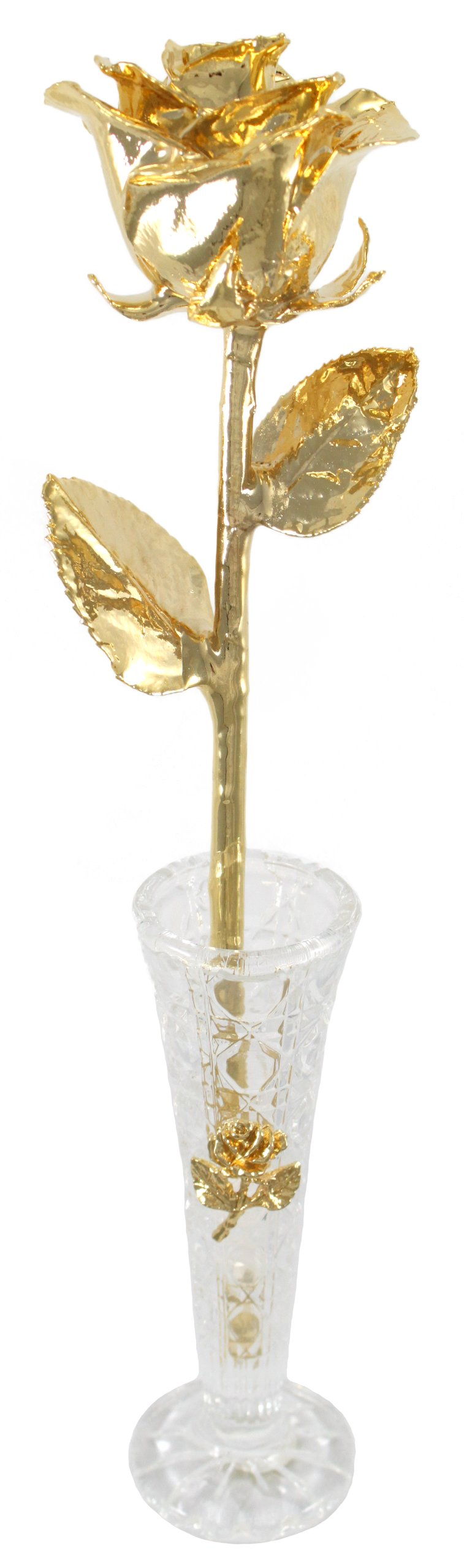 "Real Rose Dipped in 24k Gold w/Crystal Vase - Venus Rose (Open Bud) - Real 12"" Rose by Living Gold Fully Plated in 24k Gold 6"" Genuine Crystal Vase with tiny gold-plated metal rose - vases, kitchen-dining-room-decor, kitchen-dining-room - 71LddIKhQsL -"