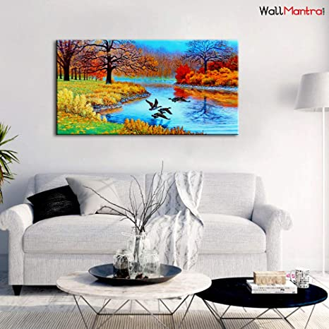 WallMantra Big Panoramic Nature Scenery Wall Painting/Canvas Print Wall  Hanging/Only Canvas, No Frame/Home Decor for Living Room, Bedroom, Office