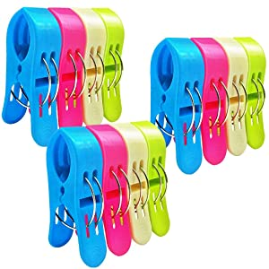 Beach Towel Clips Pool Chair Clips Towel Holder Fort on Cruise Jumbo Plastic Quilt Clothes Pegs Hanging Clamps - Stop The Towels from Blowing Away