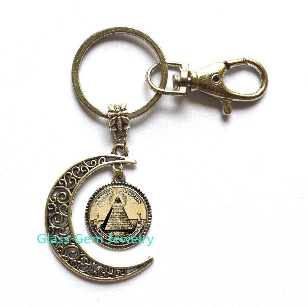 Amazon.com: Annuit Coeptis luna llavero Egipto pirámide luna ...