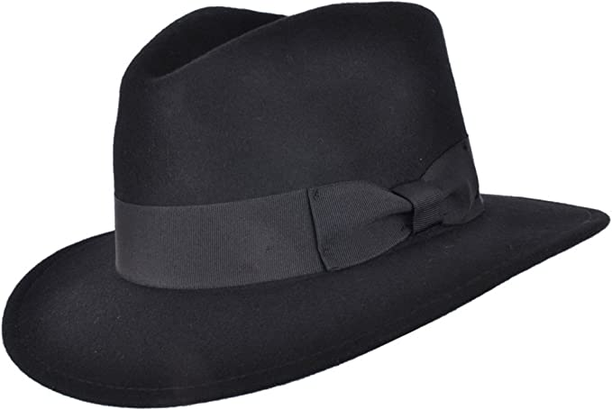 VIZ-UK WEAR Black Trilby Hat