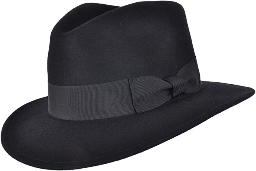 Gents 100/% Wool Felt  Crushable Trilby Fedora Hat With Leather Type Band
