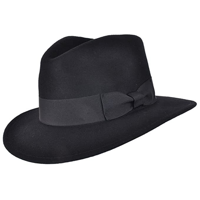 1920s Mens Hats – 8 Popular Styles High Quality Crushable Hand Made Gents Indiana 100% Wool Felt Fedora Trilby Hat With Wide Band £25.99 AT vintagedancer.com