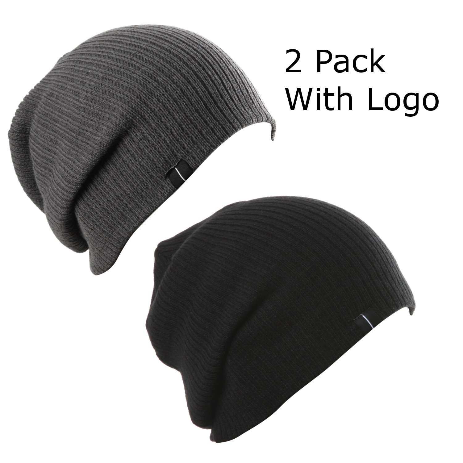 Amazon.com  Slouchy Beanie Skull Cap Simple Beanie Cap Slouch Fit Hat (2  Pack of Blk   D.Gry)  Clothing 2b1285f4375b