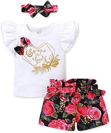 Newborn Infant Baby Girls Summer 3Pcs Outfit Floral Sleeveless Dress Solid Color Shorts Headband Clothing Set