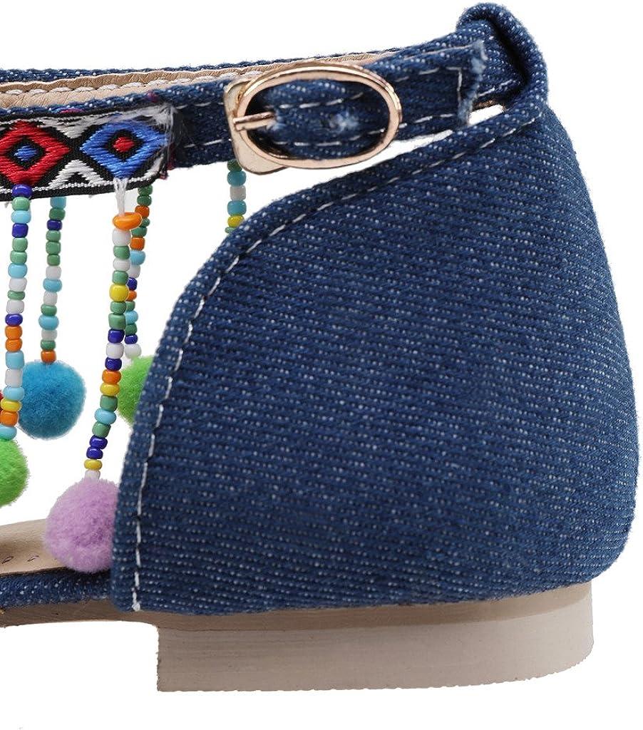 Dear Time Summer Women Shoes Denim Fringe Bohemian Pom Pom Flat Sandal