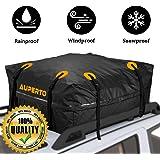 Cargo Bag, AUPERTO Rooftop Rack Carrier 100% Waterproof 15 Cubic feet for Cars, Vans or SUVs 95x95x46cm (Black)