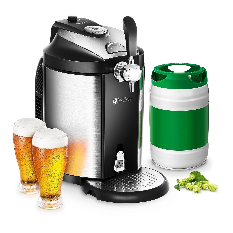 Royal Catering Spillatore Spillatrice Dispenser per Birra Refrigerato RCBD-5L (per tutti i barili di birra da 5 litri, Raffreddamento 2-12 °C, Display LED, 3 Cartucce CO2 incl.)