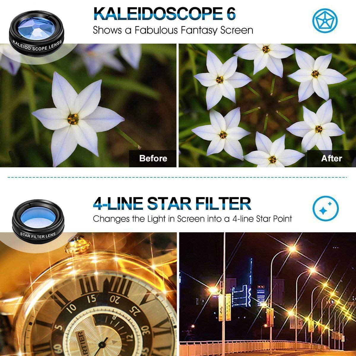Macro lens 10 in 1 Universal Phone Camera lens kit Clip-on Phone Wide Angle lens CPL//Flow//Star//Radial Filter for iPhone Samsung Most of Smartphone Kaleidoscope lens Telephoto lens Fisheye lens