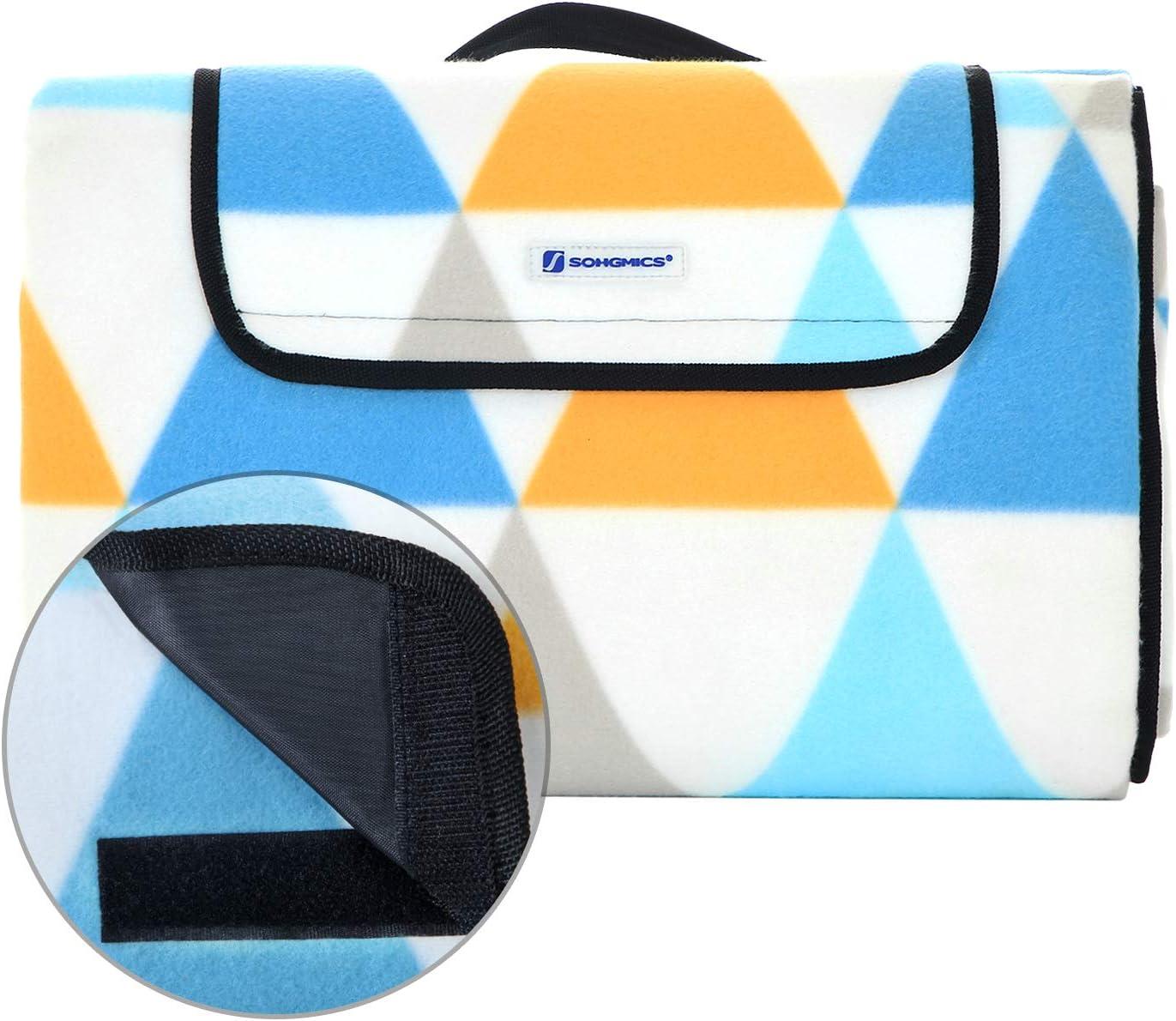 cour 200 x 200 cm motif triangle Tapis de plage gand pour camping parc Jaune GCM70GY pliable SONGMICS Couverture de pique-nique surface imperm/éable