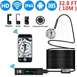 Inspection Camera, Wireless Endoscope 2MP 1200P Full HD WiFi Borescope with 32.8FT(10M) Cable and 8 LEDs, IP68 Waterproof Snake Camera for Android, iOS, Window MAC
