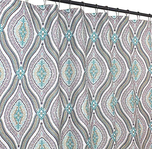 - Elegant Blue Brown Neutrals Fabric Shower Curtain: Teardrop Paisley Print Design, 72