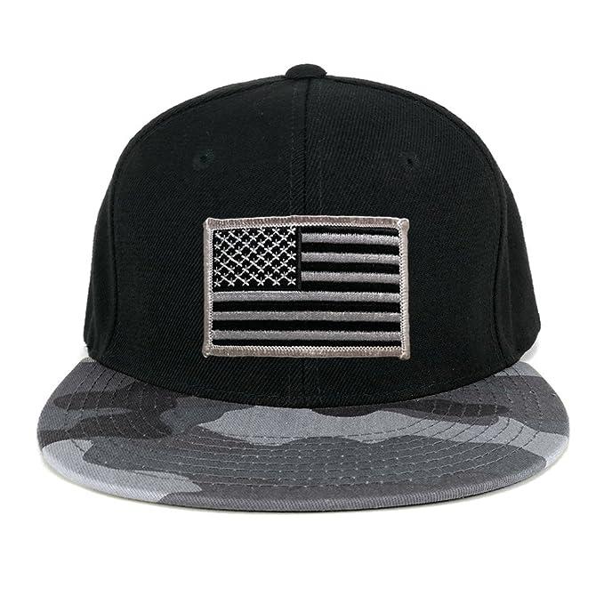 USA American Flag Embroidered Patch Urban Camo Flat Bill Snapback Cap - URB  - Black Grey f17fe77a397