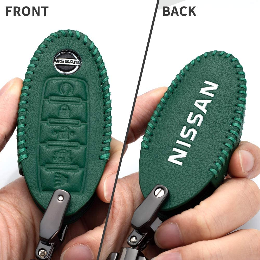 Leather Car Key Fod Cover Case Protector Keyless for Nissan for 2020 Nissan Versa Altima Maxima Armada Rogue Leaf Sentra GT-R 350Z 370Z key holder 5-buttons Altima Maxima Sentra Rogue