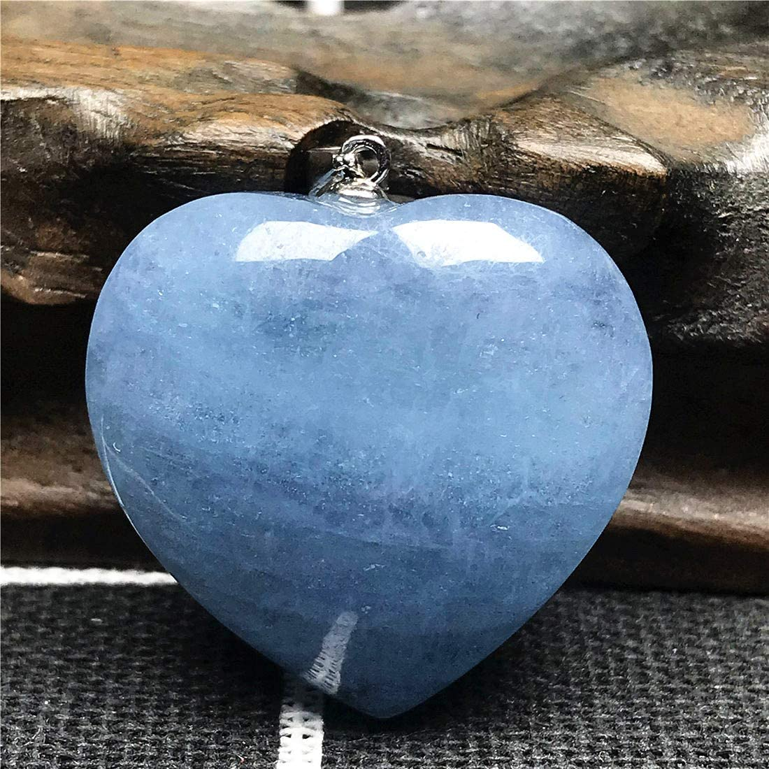 DUOVEKT Natural Blue Aquamarine Beads Heart Pendant for Women Man Clear Crystal 925 Silver 27x10mm Stone Jewelry