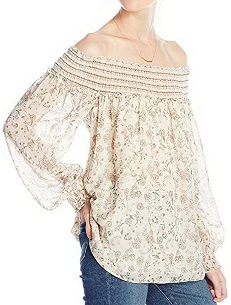 BIUBIONG Camiseta sin Hombro para Mujer Chifón Manga Larga Perspectiva Floral Estampada Blusa Tops Verano,