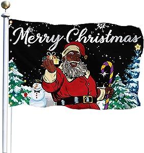 QOR Balance Christmas Garden Flag,Black Santa Flag,Winter Yard Decorations Holiday Banners Indoor Outdoor 3x5 Ft (Black)