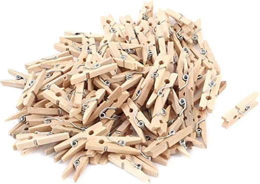50//100pcs Mini Wooden Craft Peg Clothe Photo Paper Peg Clothespin Clips 25mm