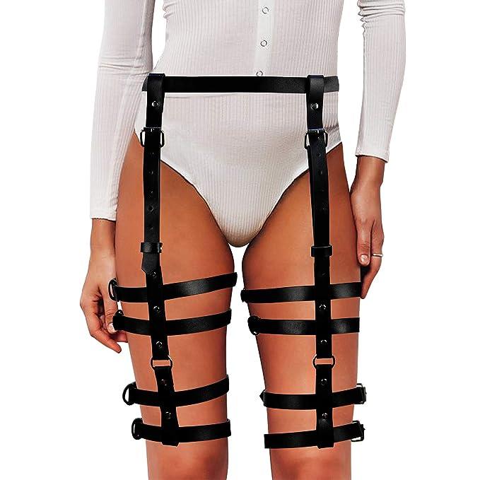 67d8a4d6fe4 Homelex Sexy Punk Leather Waist Leg Caged Harness Gothic Garter Belt For  Women (LP-