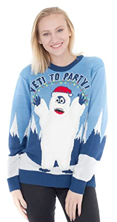 a89f8c792fd2 Yeti to Party Abominable Snowman Light up Blue Ugly Christmas Sweater  (Adult Small)