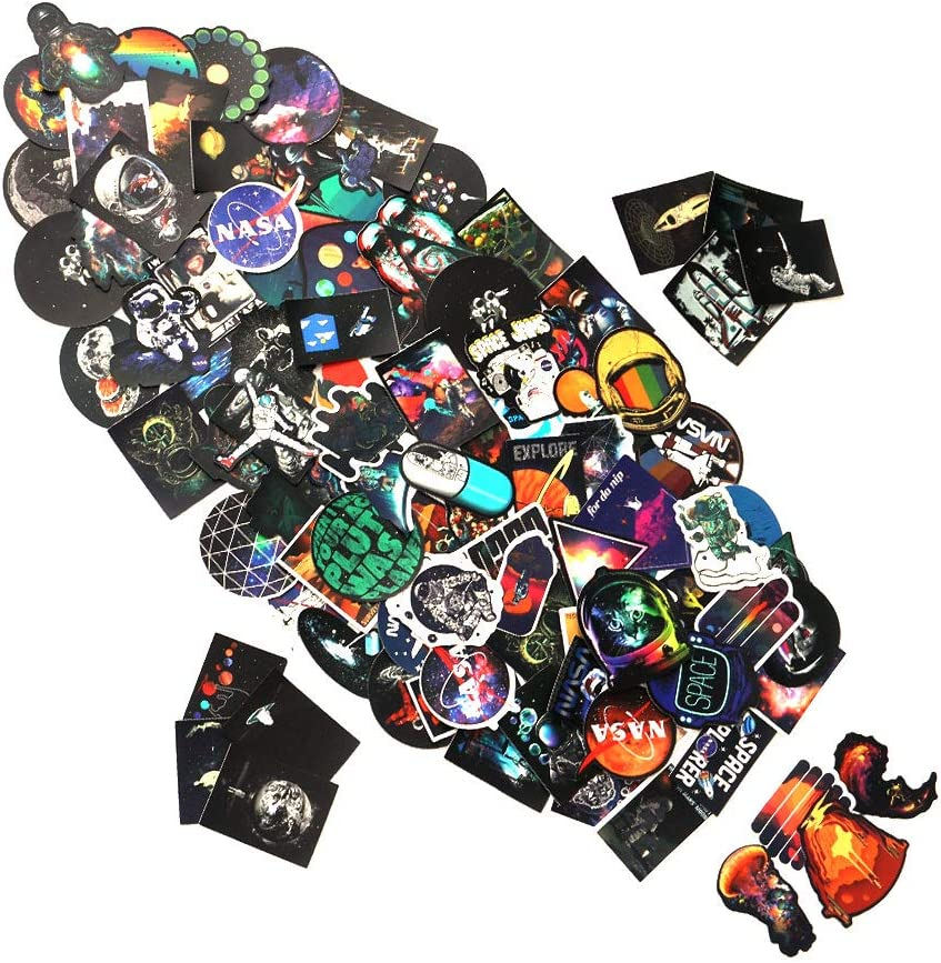 Vsco Space NASA Stickers for Water Bottles - 100 Pack Big Colorful Water Bottle Stickers, Waterproof Stickers for Flask Laptop Phone Cute Aesthetic Vinyl Stickers Gifts for Teens Girls Boys (NASA)