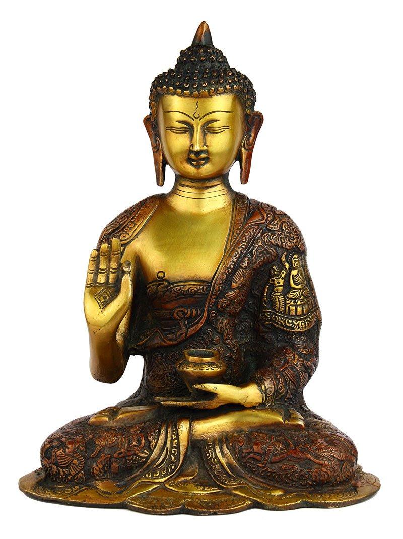 Statuestudio Chinese Tibet Gautama Buddha Brass Decorative Statue Figurine/Antique Abhaya Sitting Idol for Meditation, Peace & Protection/Nepal Traditional Siddhartha Bodhisattva Sculpture-Orange by Statuestudio