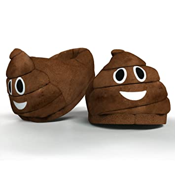7752d4c8d5b0 Funny Novelty Gift Emoti Poo Slippers – Winter Smiley Kids Plush Indoor  Universal Size Emoticon Footwear