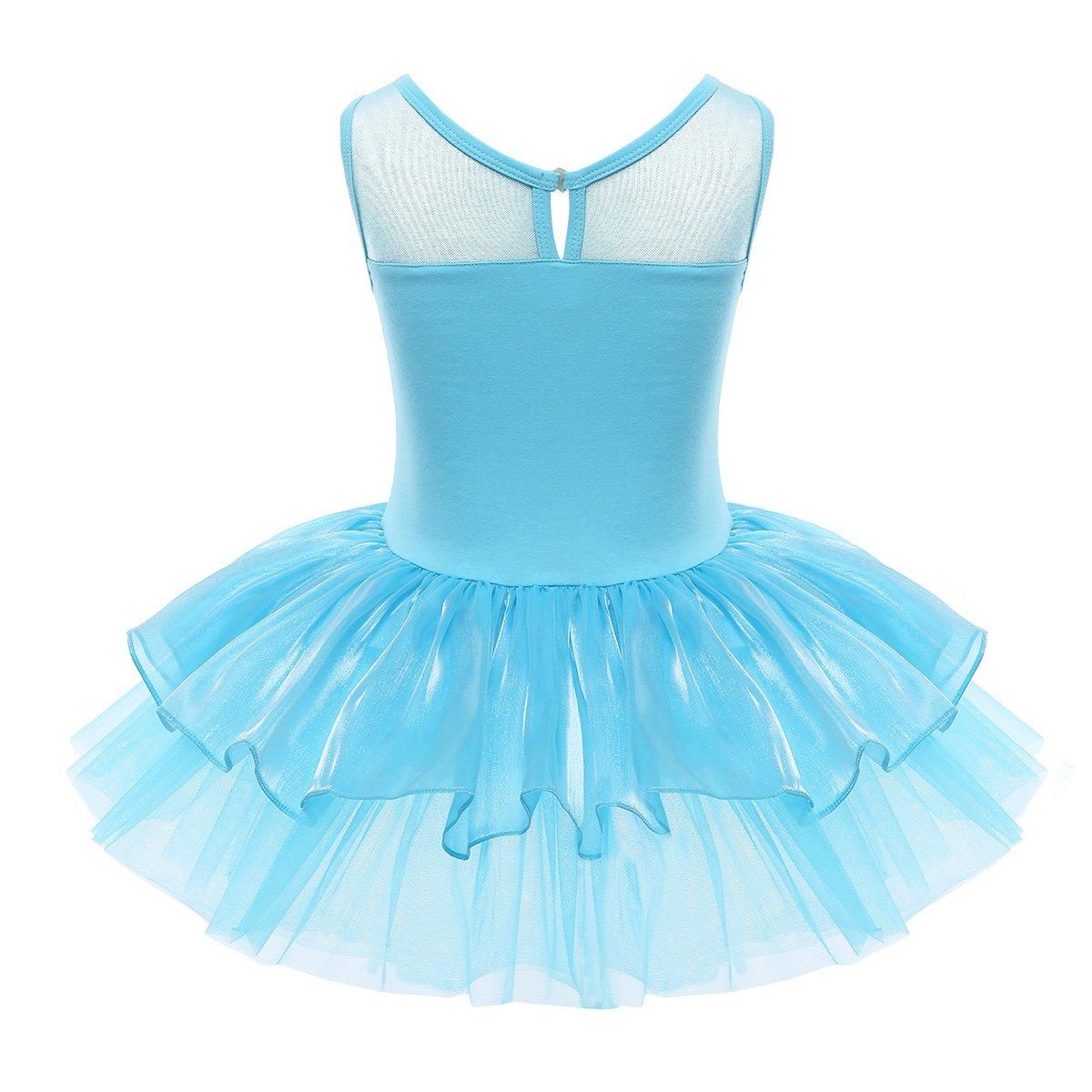 iEFiEL Kids Girls Sequins Ballet Tutu Dress Camisole Gymnastic Dance Leotard Dancewear Costume