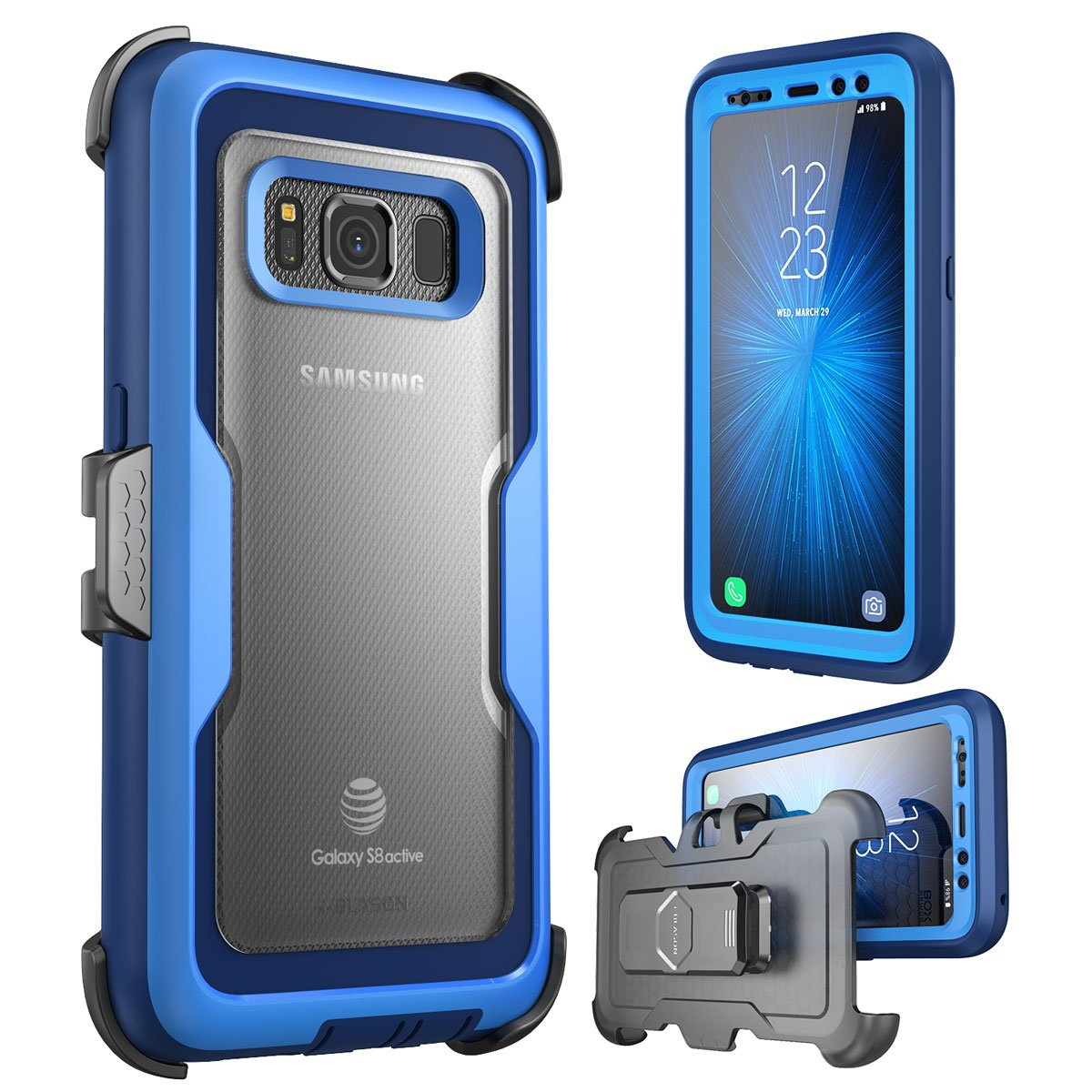 i-Blason Galaxy S8 Active Case, [Magma] [Full Body] [Heavy Duty Protection] Shock Reduction/Bumper Case with Built-in Screen Protector for Samsung Galaxy S8 Active (Not Fit Galaxy S8/S8 Plus) (Blue)