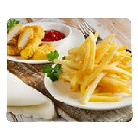alfombrilla de ratón papas fritas y nuggets de pollo en una mesa de madera: Amazon.es: Electrónica