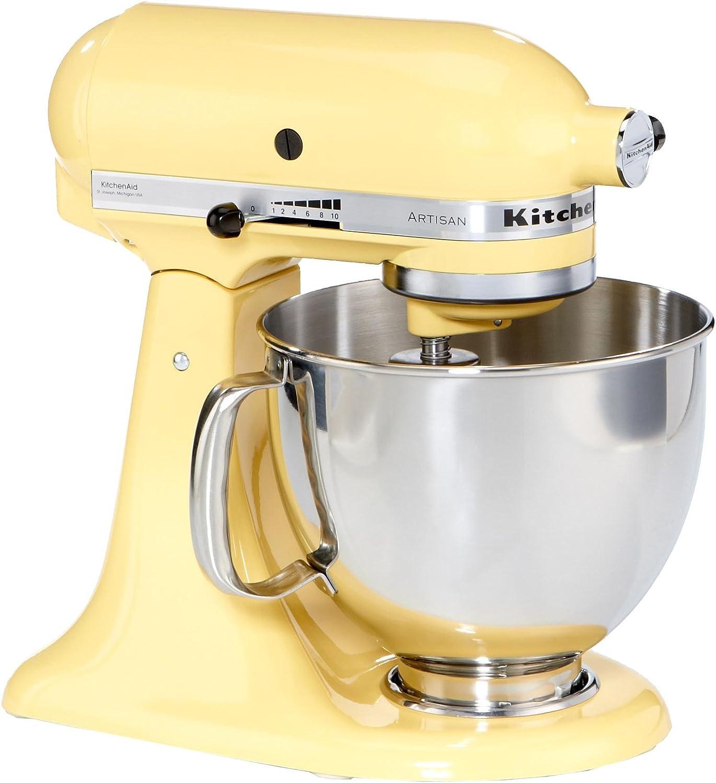 KitchenAid KSM150PSEMY - Robot de cocina, motor de 300 vatios, capacidad de 5 l, 61 dB, color amarillo: Amazon.es: Hogar
