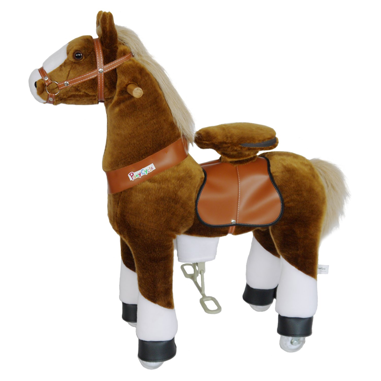 PonyCycle Official Ride-On Horse No Battery No Electricity Mechanical Pony Brown with White Hoof Giddy up Pony Plush Walking Animal for Age 4-9 Years Medium Size - N4151 by PonyCycle (Image #3)